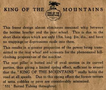 Inside of cover giving King of the Mountains details