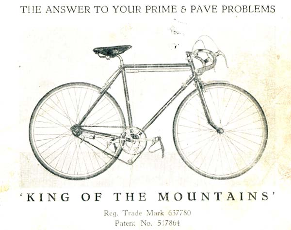 'King of the Mountains' in the catalogue showing near-vertical seat tube and curved seat pillar to compensate. Fitted with Chater-Lea chainset and Osgear