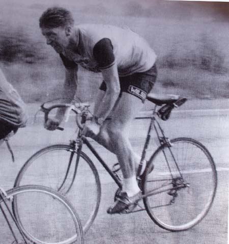 Jim Wilson, team leader and sponsor of Wilson Cycles team aged 39 years Seen climbing Red Hill, Great Harrowdon 14 September 1958 Grand Prix of Wellingborough