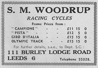 Woodrup advert from Sporting Cyclist, December, 1960