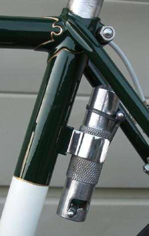Pump mounting boss, brazed onto a 1963 Carpenter, fitted with clip holding a Mark I Pennine CO2 pump. This boss was a listed feature on the Mass Start frame