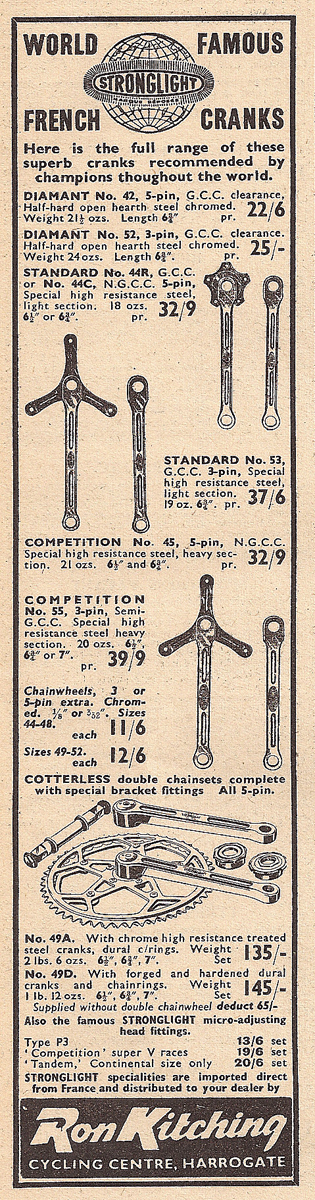 By 1956 Ron Kitching was listing a comprehensive range of steel cranks