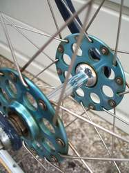 Some of the Airlite large-flange hubs were anodised - this one is a slightly faded blue