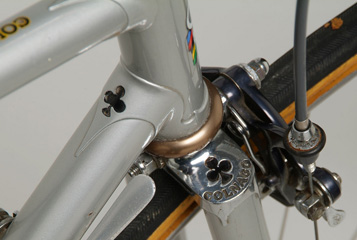 Pantographed head lug and fork crown. bronze headset and black-anodized brake stirrup