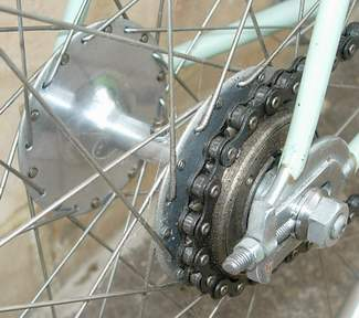 Harden 'Bacon Slicer' hub mounted in track rear ends with adjuster to prevent wheel pulling over