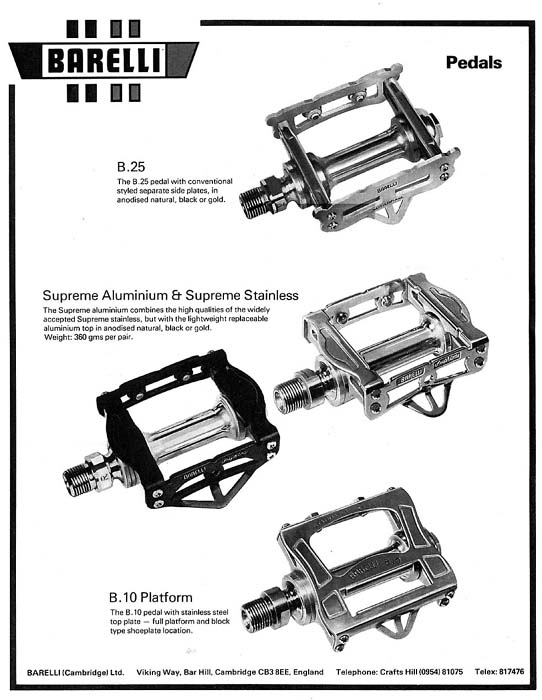 Image of Barelli catalogue for B10 and B25 pedals (image Hilary Stone)