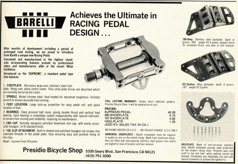 Copy of an informative Barelli advert dated February 1977