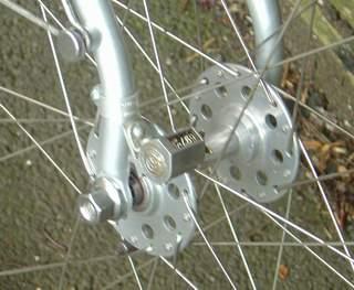 Bates Diadrant fork with Bates mudguard bolts and F H Grubb cyclometer mounting