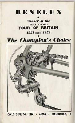 An advert for the 1951 Cyclo Benelux proclaiming proudly their wins in the Tour of Britain for 1951 and 1952. This model introduced in 1950 operates by a pull-chain similar to the Simplex Tour de France