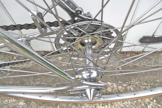 Paris Roubaix changer and rear hub showing 'dogbone' skewer end