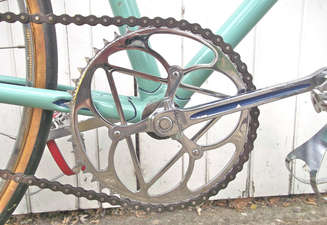 Magistroni steel cottered cranks with Bianchi 48T single chainring