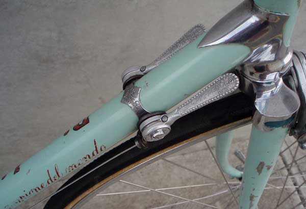 'Bianchi' on one side, 'Campione del Mondo' on the other, of downtube Campagnolo 'open C' levers, chrome head lug and fork crown