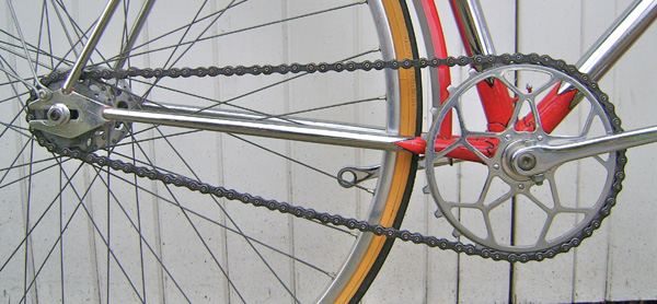 Williams 5-pin chainring with inch-pitch block chain