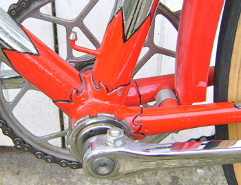 Capella bottom bracket. BB area was often painted due to the problems in polishing pre-plating