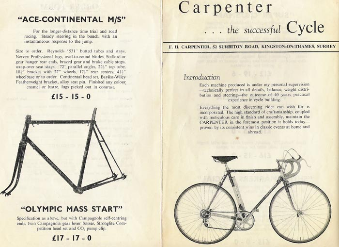 Early 60's Carpenter catalogue with 'Olympic Mass Start' listed on left