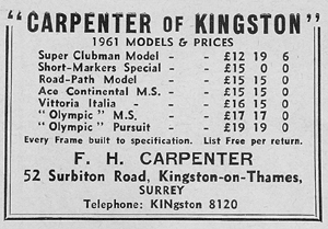 Carpenter advert from Sporting Cyclist, May 1961 showing Olympic M.S. as one of their top-of-the-range road frames