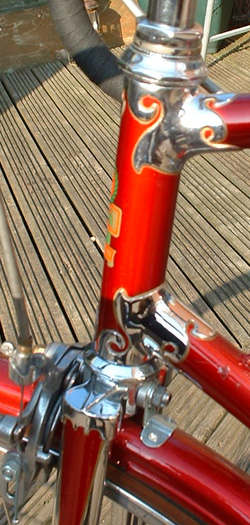 Details of head lugs and fork crown with Alp stirrups