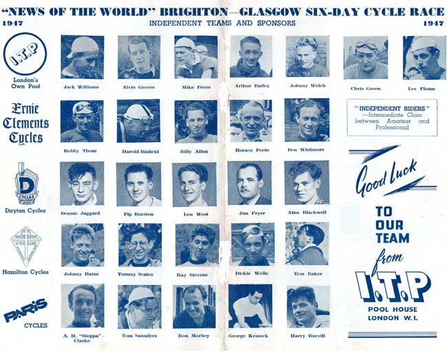 Potographs of the riders in Independent Teams - Jim Pryer looking very suave