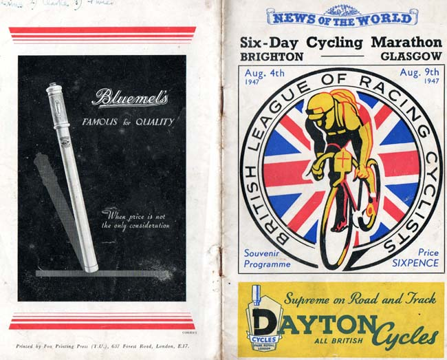 Cover of programme with Dayton Cycles advert (Programme images courtesy of Derek Browne)