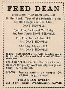 Fred Dean advert. 'Sporting Cyclist' July 1962