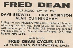Fred Dean advert. 'Sporting Cyclist' October 1963