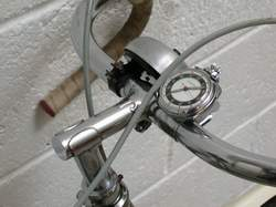 Steel bars and stem secured by Claud Butler headclip. Also stopwatch in Terry spring-steel clip plus bell.