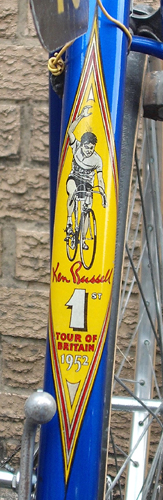 Special seat tube transfer used on Ellis Briggs machines after Ken's win in the Tour of Britain. It shows Ken crossing the line on the final day