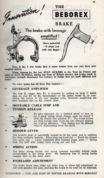 Advert for the Beborex brake citing Ken's win in the Tour of Britain