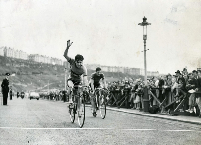 Ken winning the stage to Scarborough ahead of Ian Steel of the Viking Team
