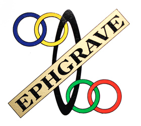 Flat-lying Ephgrave seat tube badge transfer showing correct position, i.e. 'EPHGRAVE' is diagonal. Restorers have been known to position this in the horizontal plane.