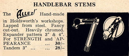 Advert showing a similar Holdsworth stem in their 'Aids to Happy Cycling' booklet of the 1950s. The stem on this Gillott was built to match the lugs on their 'Cyclone de Luxe' model