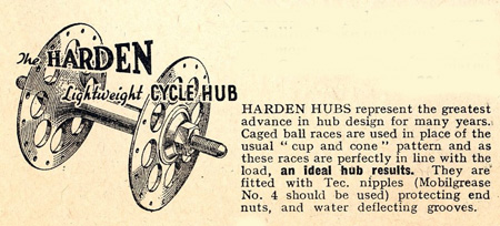 Details of Harden hubs in 'Aids to Happy Cycling - 1949'