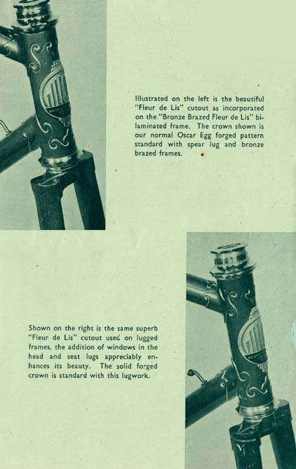 Page from 1952 Gillott catalogue giving Fleur de Lis details for both bi-laminated and lugged frames