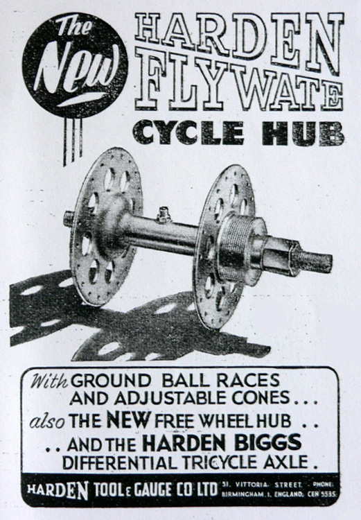 Flywate advert for 'The new' Harden Flywate published 1950 (Note reference to Harden Biggs tricycle axle)