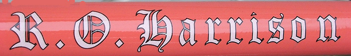 Down tube transfer, R O Harrison also had one with similar lettering on a 'scroll'