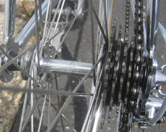 Small-flange QR Campag hub with 5-speed freewheel