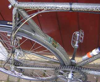 Detail shots of tandem showing original 'crackle' finish from 1946, also curved rear seat 'tube' fabricated into channel section which acts as mudguard to seat stay. Drive-side chainstay is also plate at front to give clearance for double chainring for in-line chain drive