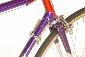 Detail of Ultralite headlug and fork crown with Campagnolo levers and Alp calipers