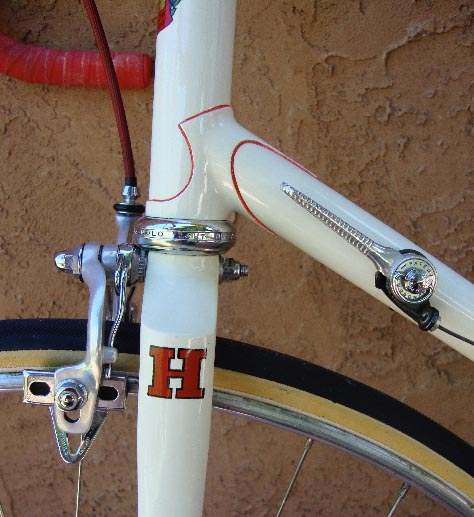 Another close-up of immaculate long-line Italian lugs (Bill Hurlow's description) on this machine Paintwork,lining and transfers are original as done by B H.