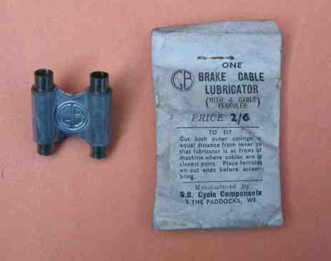 A GB cable oiler available in 1952. Note the address! The cable ferrules are a very important part of this clip as they need to be a good close fit to prevent oil or grease pumping out of, rather than into the cables.
