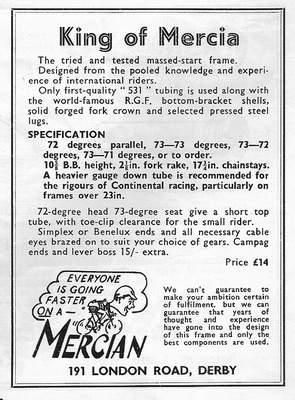 As Advertised in Autumn 1956 The King of Mercia massed-start frame