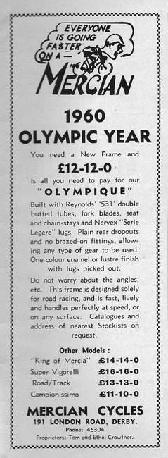 1960 Mercian Advertisement