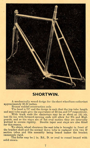 Details of the Shortwin in the 1949 and 1950 catalogues (Click on images for larger version)
