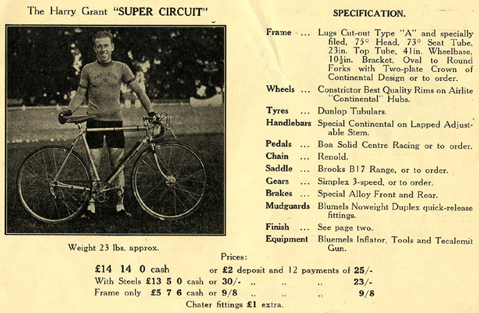 Appropriate page from the 1938 R O Harrison catalogue showing Harry Grant with his R O H Super Circuit