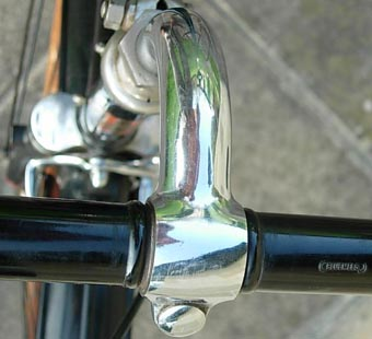 Swan neck stem with celluloid bars stamped 'Bluemels'