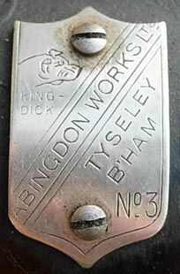 Badge screwed to Abingdon Works Ltd No. 3 differential
