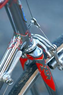 Side view of lugs also showing 'fretwork' on round fork blades