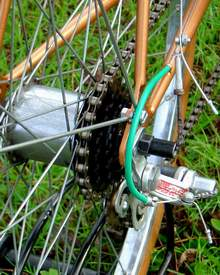 Bob Damper's hub gear/derailleur combination on a Gillott Spear Sturmey Archer FW 4-speed with Cyclo 3-speed conversion.