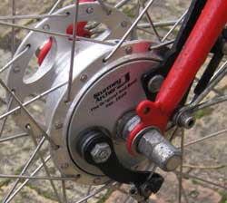 Hub brake in front wheel (Images Fergus Muir)