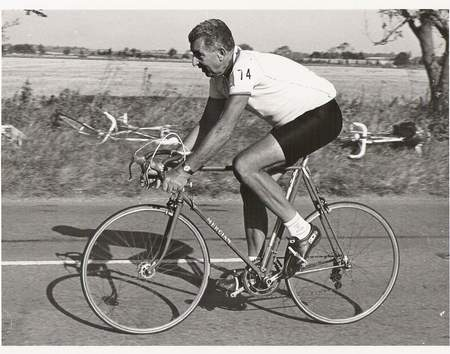 Dave Keeler riding the Icknield Road Club 12-hour event on Mercian with Campag gear in 1992